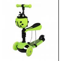 Skrejritenis ar stumšanas rokturi Scooter 5in1 zaļš